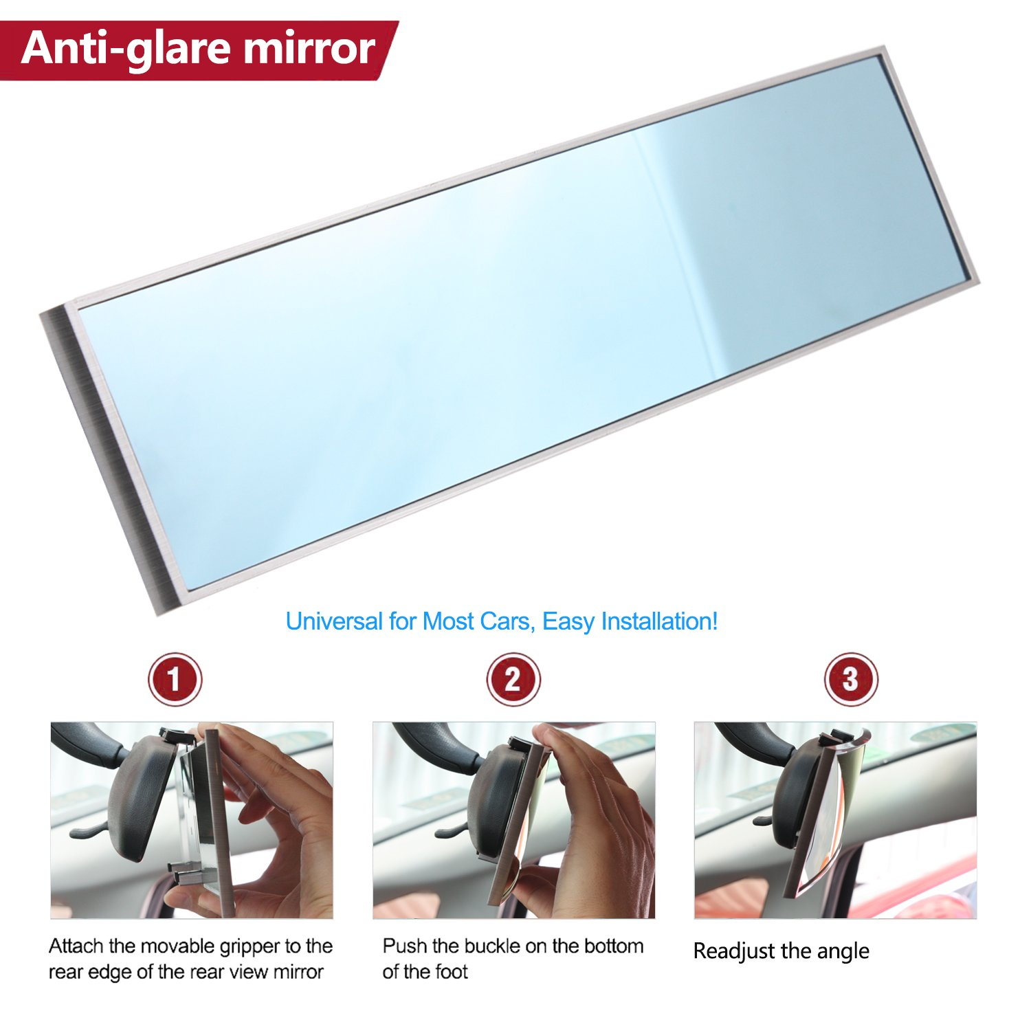 Car 300mm Wide Convex Curve Interior Clip on Rear View Mirror BeltandRoad