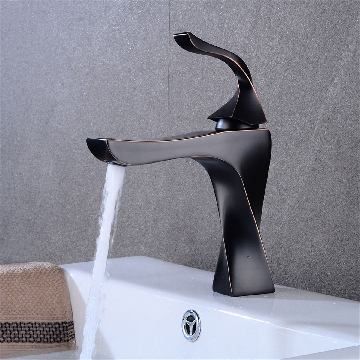 Lpophy Bathroom Sink Mixer Taps Faucet Bath Waterfall Cold and Hot Water Tap for Washroom Bathroom and Kitchen Retro Black Hot and Cold Water Single Hole