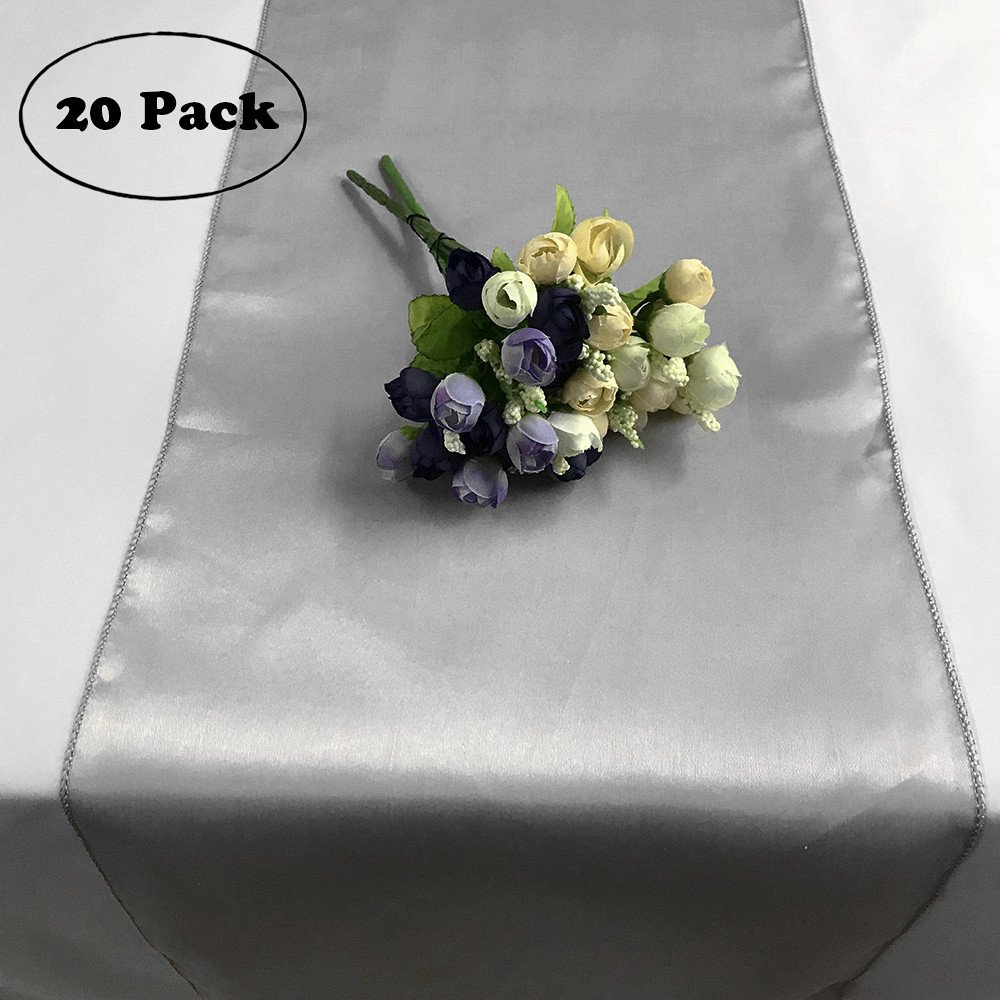 Satin Table Runner Silver, Pack of 20 12x108'' Satin Table Linens for Home Decoration