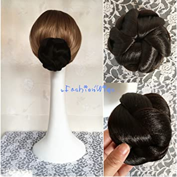 Bridal Braided Clip in Hair Bun Extension Wedding Hair Pieces Chignon Tray  Ponytail J-76 (8#)
