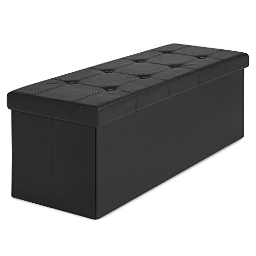 Best Choice Products Faux Leather Space Saving Folding Storage Ottoman Foot Rest Stool Seat Padded Bench w Velcro Divider, 300lbs Weight Capacity – Black