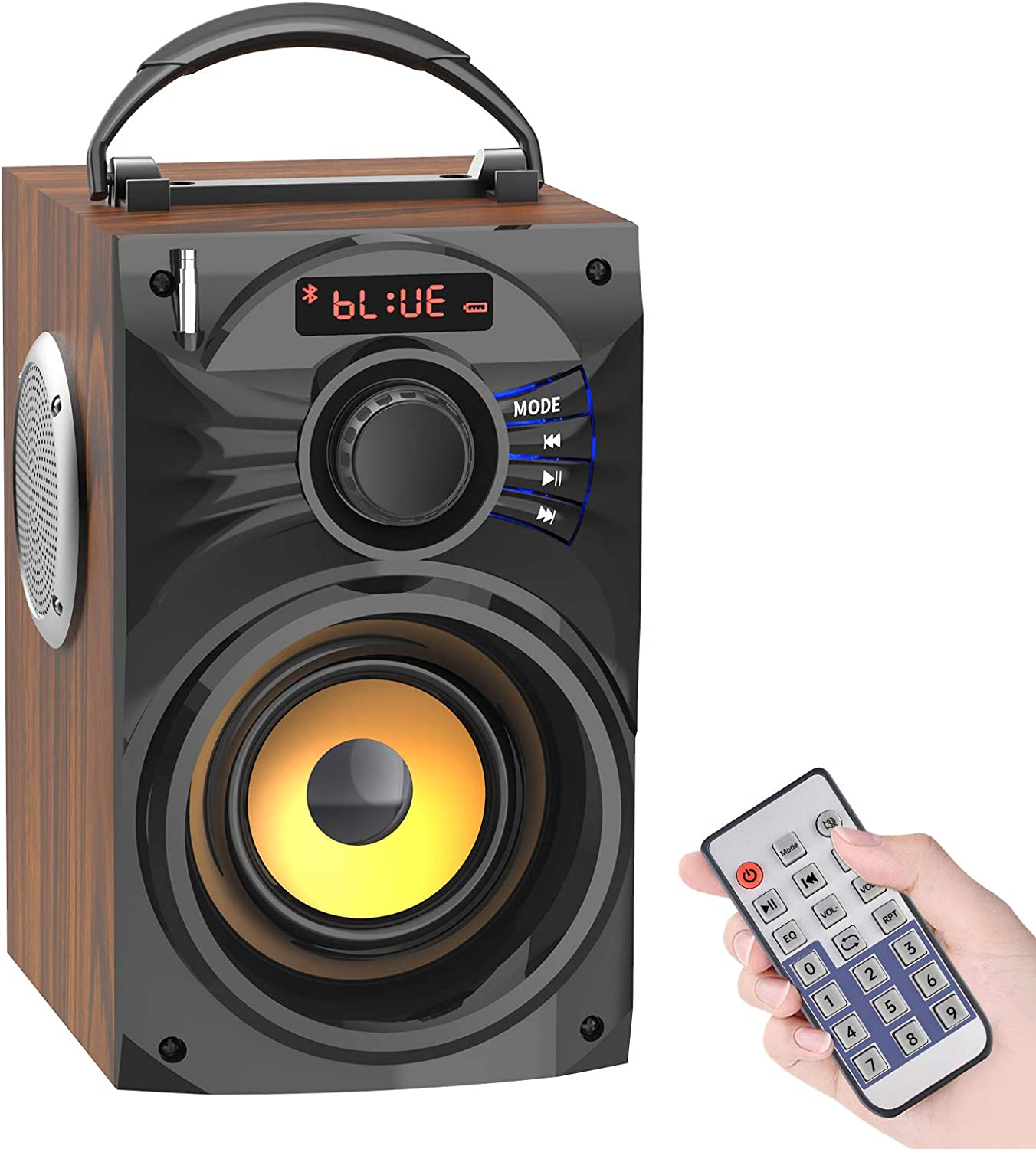 Portable Bluetooth Speakers with Subwoofer Rich Bass Wireless Speaker Support Remote Control FM Radio TF Card LCD Display Outdoor/Indoor Party Speakers for Home PC Camping Travel