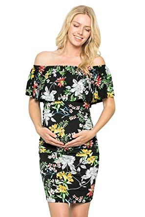 f6faf52817162 My Bump Women's Ruffle Off-Shoulder Maternity Dress W/Side Sharing(Made in