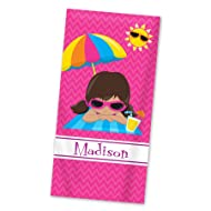 Beach Towel - Girl Pink Chevron Personalized Name Light Weight Towel
