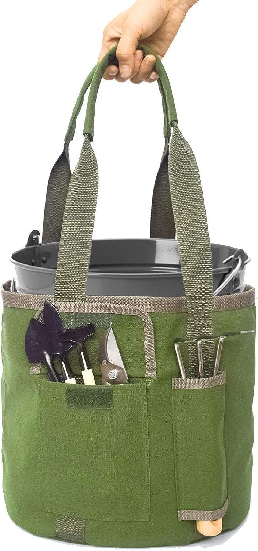 Round Gardening Tool Bag Garden Tote Bag with Pockets 5 Gallon Bucket Tool Organizer