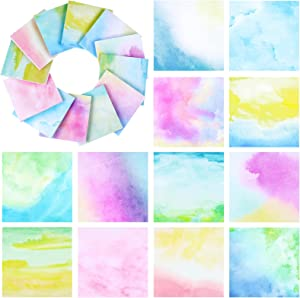 12 Packs Watercolor Sticky Note Pads 3 x 3 Inch to Do List Notepads Watercolor Self-Adhesive Memo Pads Self-Stick, 50 Sheets Per Pad for Home Office School Reading and Reminding