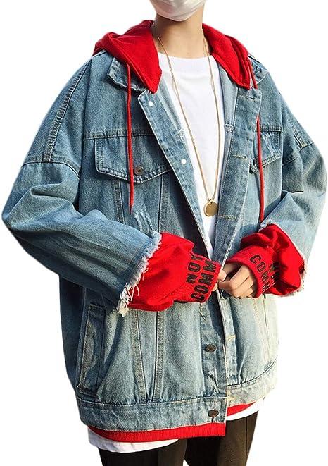 [DMbinshun]メンズ パーカー デニム ジャケット フード付き アウター ゆったり ジージャン 重ね着風 ヒップポップ ストリート コート 原宿系 大きいサイズ 秋