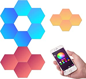 10 Pack, Detachable DIY Geometric Splicing Hexagonal Quantum LED lamp Wall lamp Night Light, Creative Smart LED lamp,programmable LEDs,Modular Design, Suitable for Home Office Hotel bar Holiday Gifts