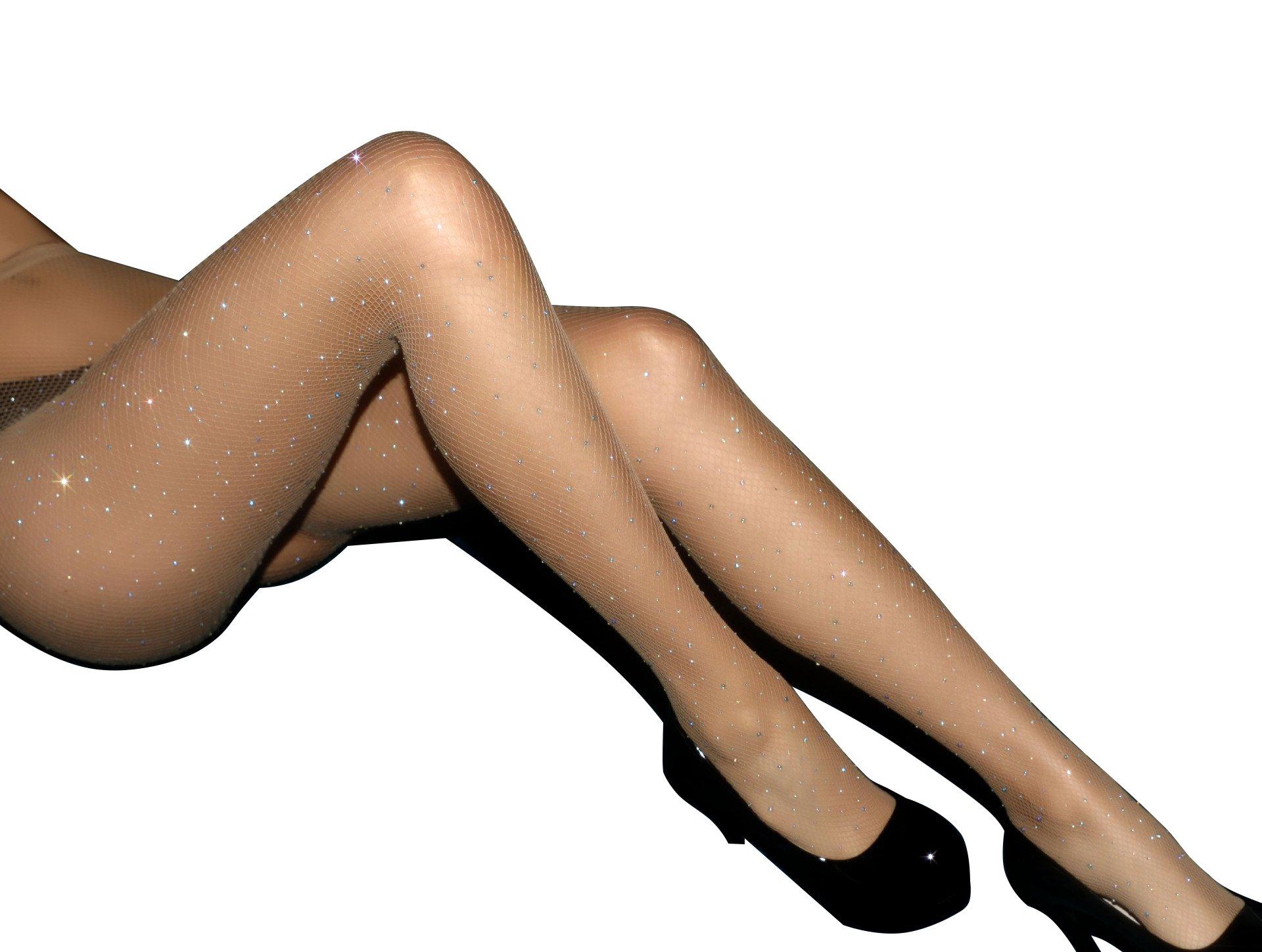 Sparkle Rhinestone Fishnet Stockings Women's High Waist Fishnet Tights Pantyhose