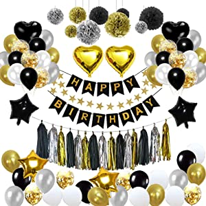 Birthday Decorations, Puchod Birthday Party Decoration Kit 99pcs Happy Birthday Confetti Balloons with Paper Pom Pom Black and Gold for 13th 16th 18th 21st 30th 40th 50th 60th 70th 18th Party Supplies