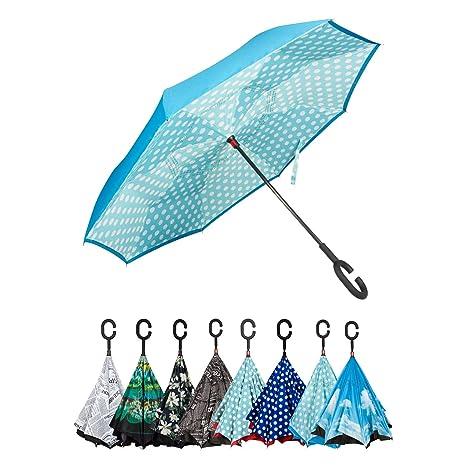 ebd41d22c7 Golden Lemur Paraguas Invertido. Paraguas Originales Mujer y Hombre de  Colores. Grande, para