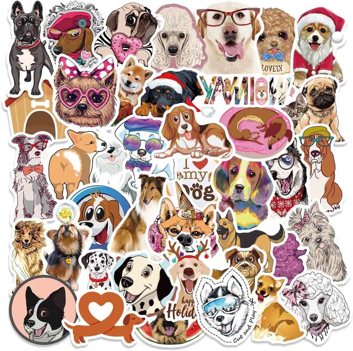 80pcs Cute Dog Stickers for Water Bottle,Dog Gifts for Adults Teens Girls Boys,Vinyl Waterproof Puppy Stickers and Decals for Laptop Scrapbook Skateboard Bicycle Car Phone,Funny Animal