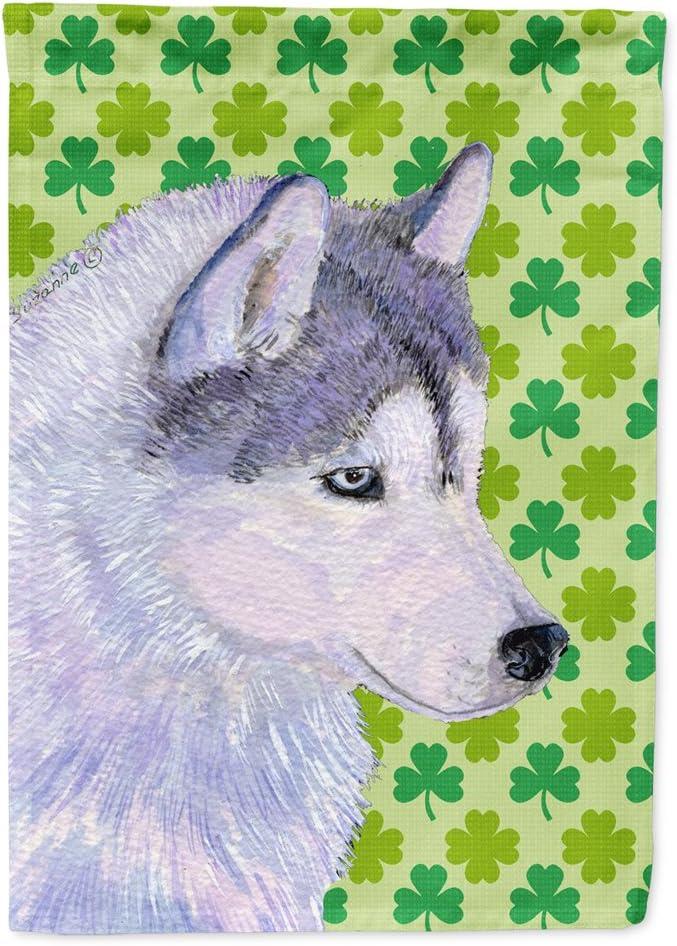 Caroline's Treasures SS4395GF Siberian Husky St. Patrick's Day Shamrock Portrait Flag Garden Size, Small, Multicolor