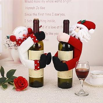 Glary 2 x Weihnachten Deko para de Botellas de Vino de Botellas de champán Papá Noel