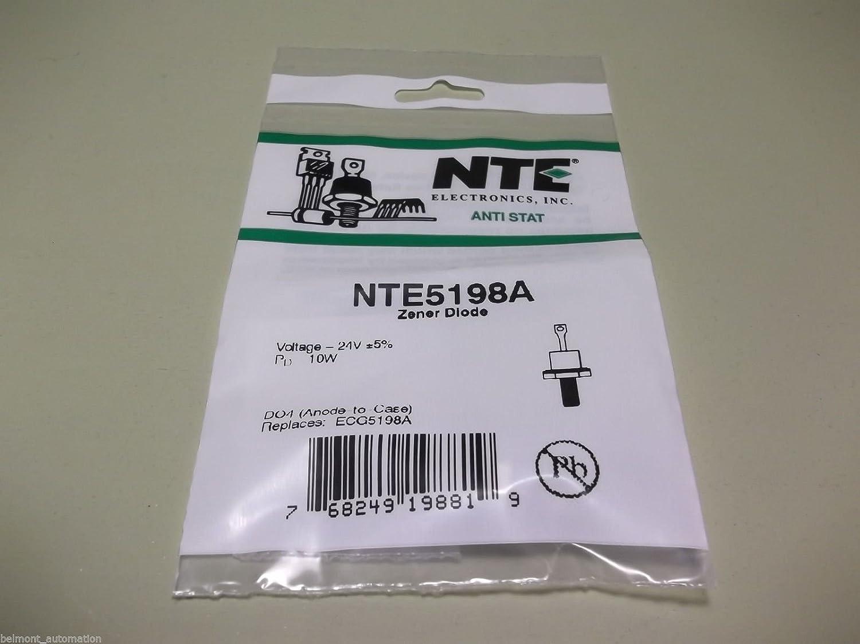 10V Inc. Anode Case NTE Electronics NTE5186A Zener Diode DO4 Stud Mount Package 10W 5/% Tolerance