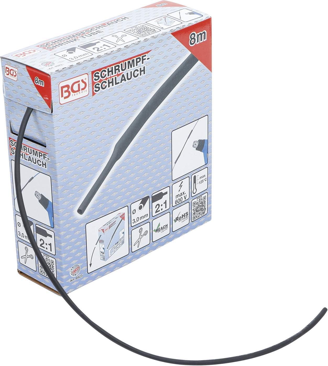 BGS 6852 Bo/îte de gaines thermor/étractables Noir 8 mm 5 m
