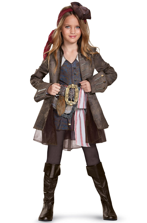 Disney POTC5 Captain Jack Sparrow Girl Deluxe Costume,  Multicolor,  Small (4-6X)