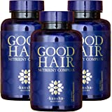 Hair Growth Nutrients + Biotin & DHT Blocker (3 PACK), Natural Formula for Men & Women, All Hair Types, 180 Vegan Tablets (Good Hair X3)