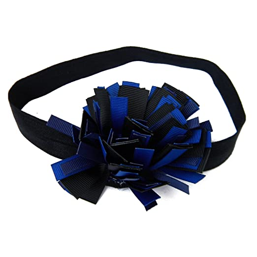 Black and Royal Blue Baby Headband with Grosgrain Ribbon Pom Pom on Elastic  Hair Band 7f00b7fe29d