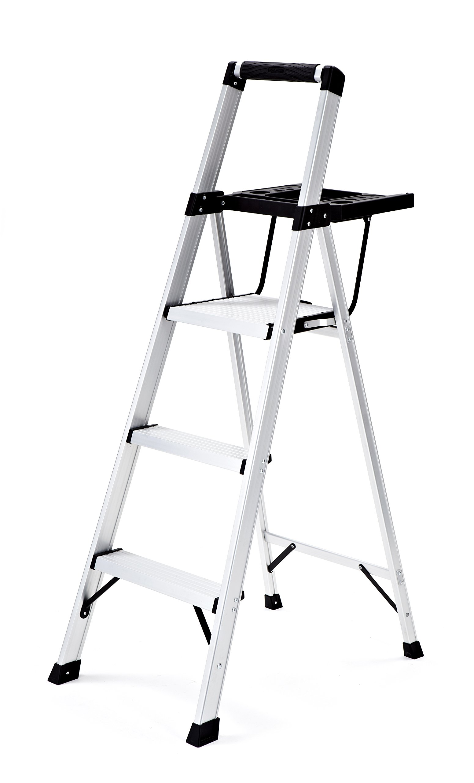 Rubbermaid RMA-3XST 3-Step Lightweight Aluminum Step Stool with Oversized Project Tray