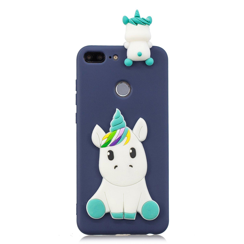 HopMore Panda Licorne Coque pour Huawei Honor 9 Lite Silicone Souple 3D Design Motif Drôle Etui Honor 9 Lite Étui Antichoc Ultra Mince Fine Slim Case Housse Protection pour Fille Femme - Bleu Panda