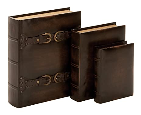 Wood Leather Book Box Set Of 3 13quot 10quot 8quot Roll Over Image To Zoom In Casa Bonita Decor