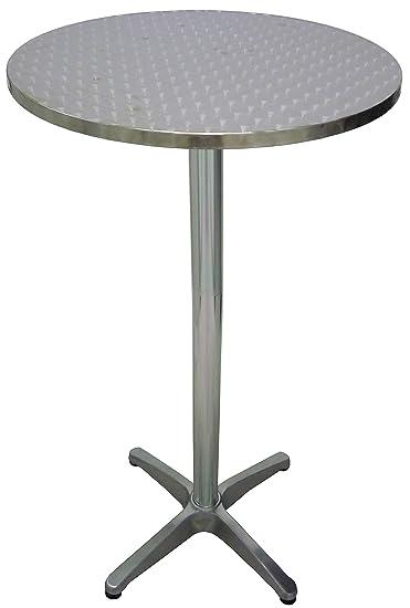 Sgabello alto in alluminio grigio antiruggine con poggiapiedi da bar pub birreria per tavolo alto esterno o interno