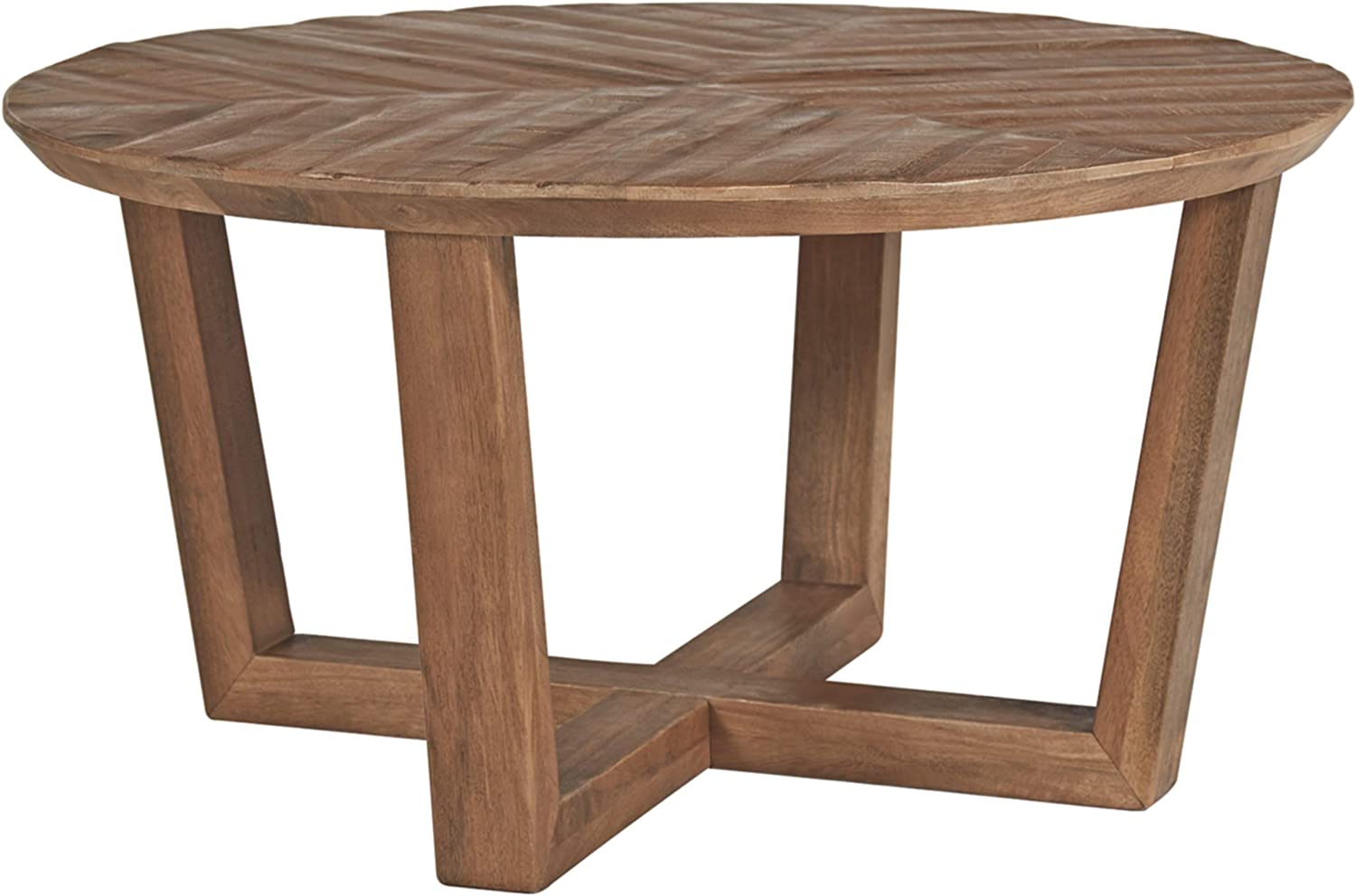 Signature Design by Ashley - Kinnshee Natural Wood Round Cocktail Table, Brown