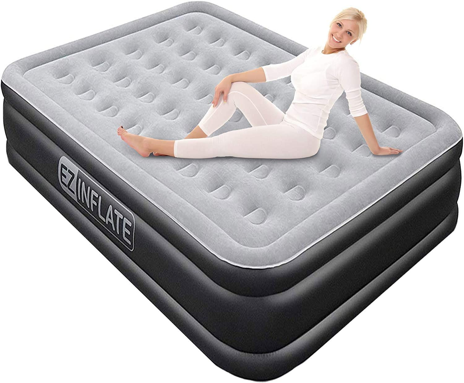 EZ INFLATE Luxury Double High Queen air Mattress with Built in Pump, Queen Size, Inflatable Mattress for Home Camping Travel, Luxury Blow up Bed at a, 2 Year Warranty: Kitchen & Dining