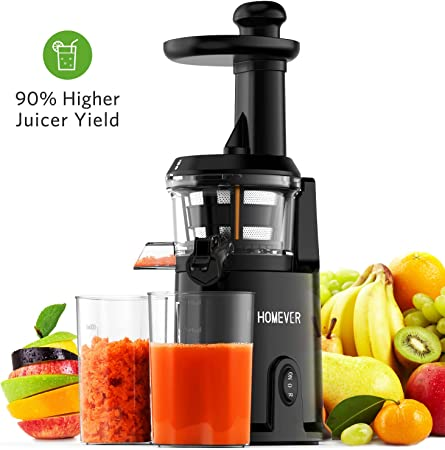 Slow Juicer Machine, Homever Masticating Juicers Extractor for Whole Fruits and Vegetable, Easy to Clean Cold Press Juicer, Quiet Motor and High