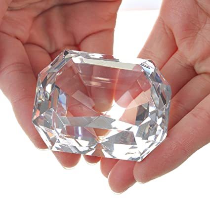 100mm Red Crystal Diamond Shape Paperweight Glass Gem Display Ornament Gift Box