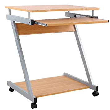 Songmics Computer Desk Z Shaped PC Table Movable Portable Trolley Study  Workstation With Sliding Keyboard