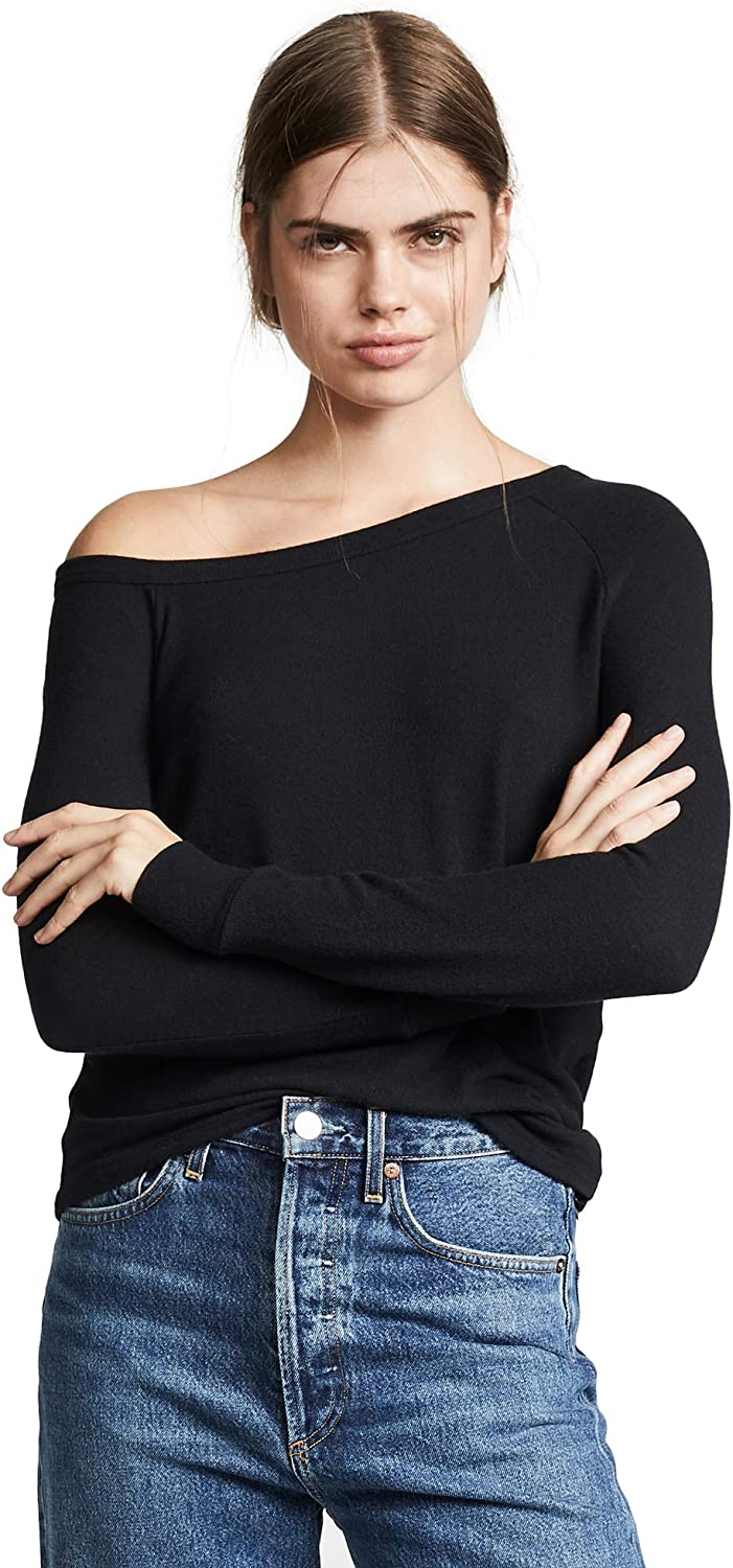 Enza Costa Womens Sweater Jersey Exposed Shoulder Long Sleeve Top