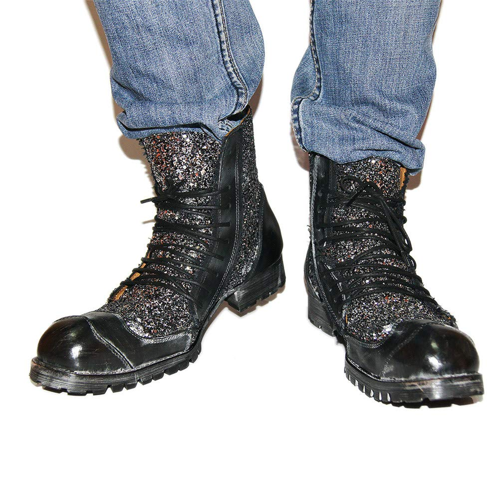 Jiahe Große Größe Martin Stiefel Männer Arbeitsstiefel Geschnürt Schuhe Schuhe Schuhe Flut Schuhe Niedrigen Absatz Stiefel Motorrad Schuhe Punk Lässige Cowboystiefel,schwarz,US9.5 a56212