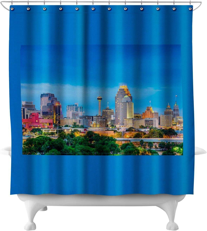 Amazon Com Lantern Press San Antonio Texas City Skyline A 9007958 71x74 Polyester Shower Curtain Posters Prints