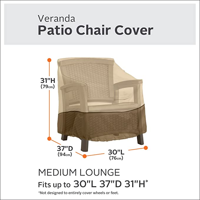 Classic Accessories Veranda Patio Lounge//Club Chair Cover-Durable and Water Resistant Patio Furniture Cover, Medium /(55-643-011501-00/)