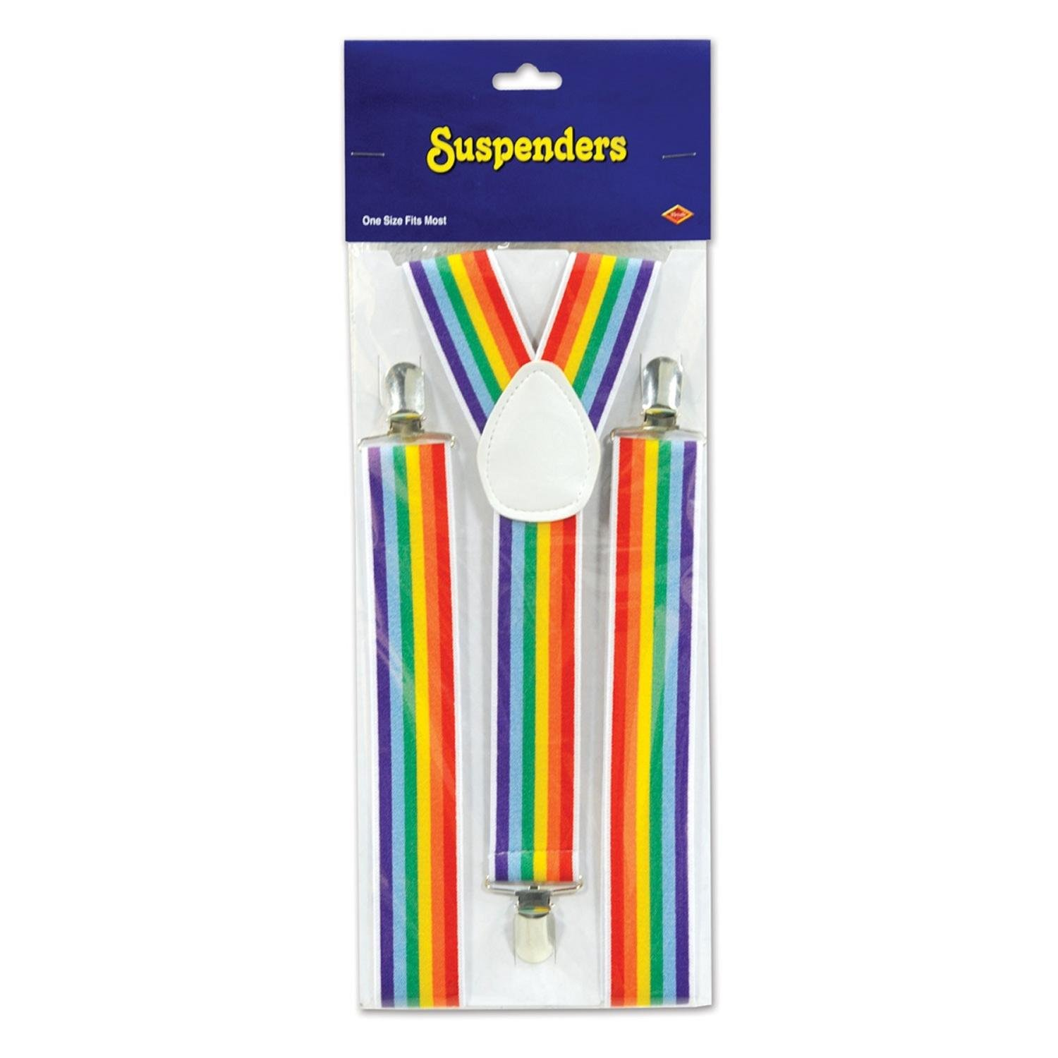 Club Pack of 12 Rainbow Colored Carnival Themed Adjustable Suspender Costume Accessories by Party Central