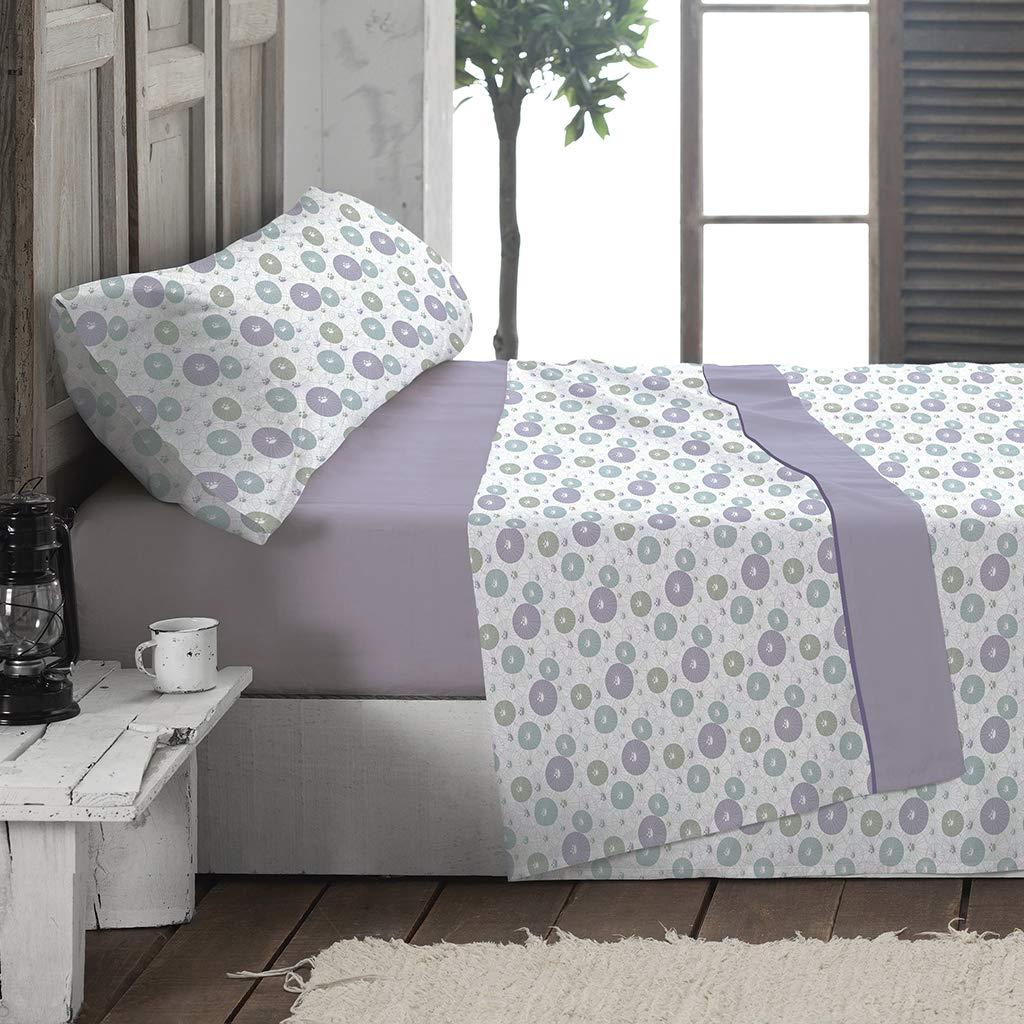 Juego de S/ábanas Franela Sakura Malva cama 90