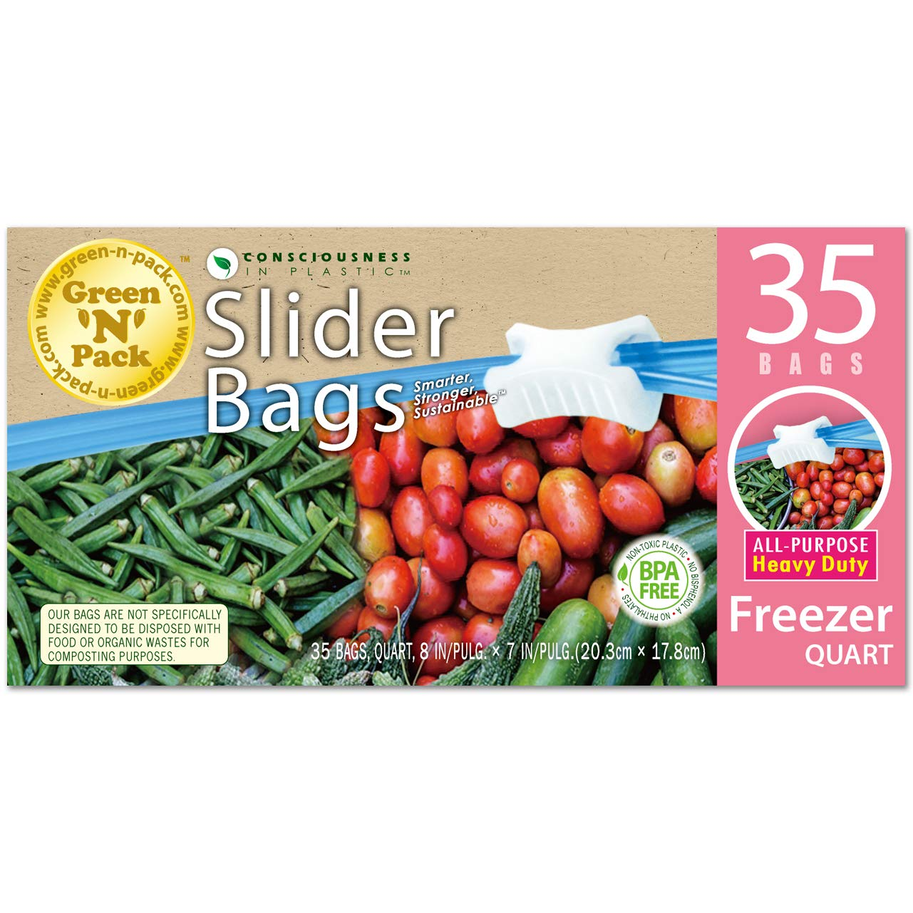 Green N Pack Premium Freezer Slider Bags (BPA Free), Quart, 35 Count Green-n-Pack 006108