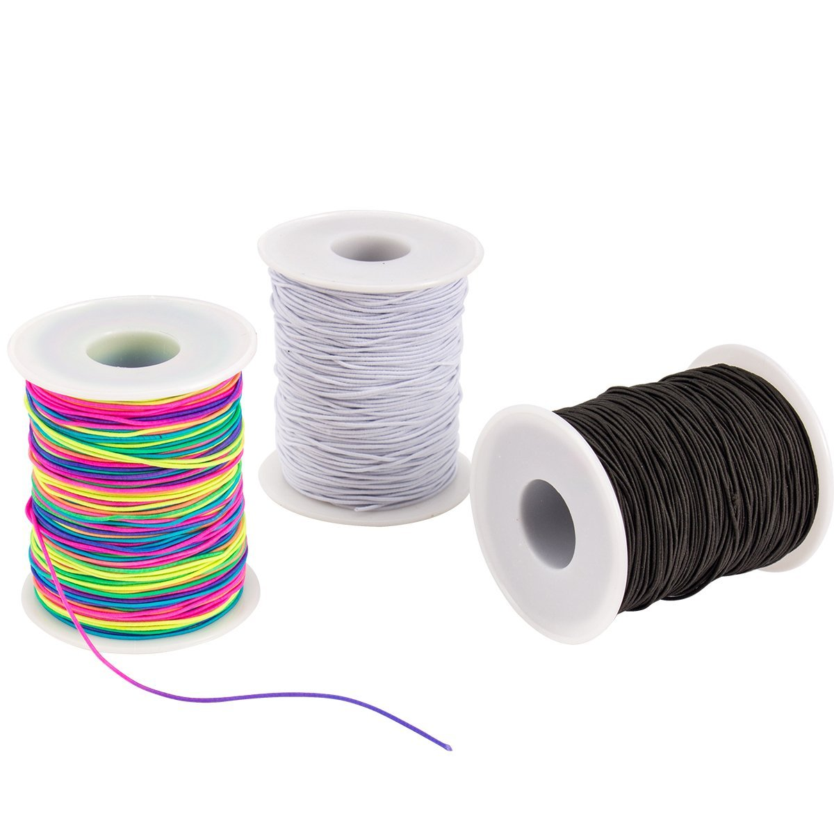 Apipi 3 Roll Elastic Cord Beading Threads Stretch String Fabric Crafting Cords - 328ft x 1mm Colorful Stretchy Bead Thread for Beading,Jewelry Making, Masks, DIY Crafting(Rainbow,Black, White)