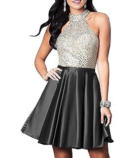 Prom Dresses Short Halter Open Back Beaded Satin Homecoming Dresses with  Pockets 9debfa239