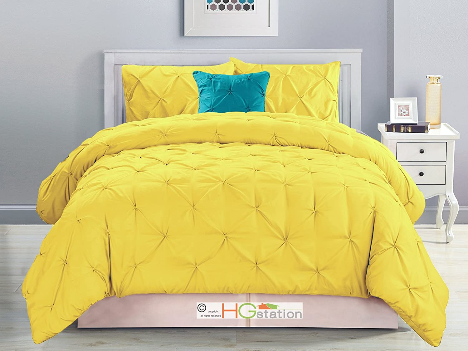 4-Pc Diamond Ruched Pinched Pleated Ruffled Pintuck Comforter Set Yellow Blue Queen