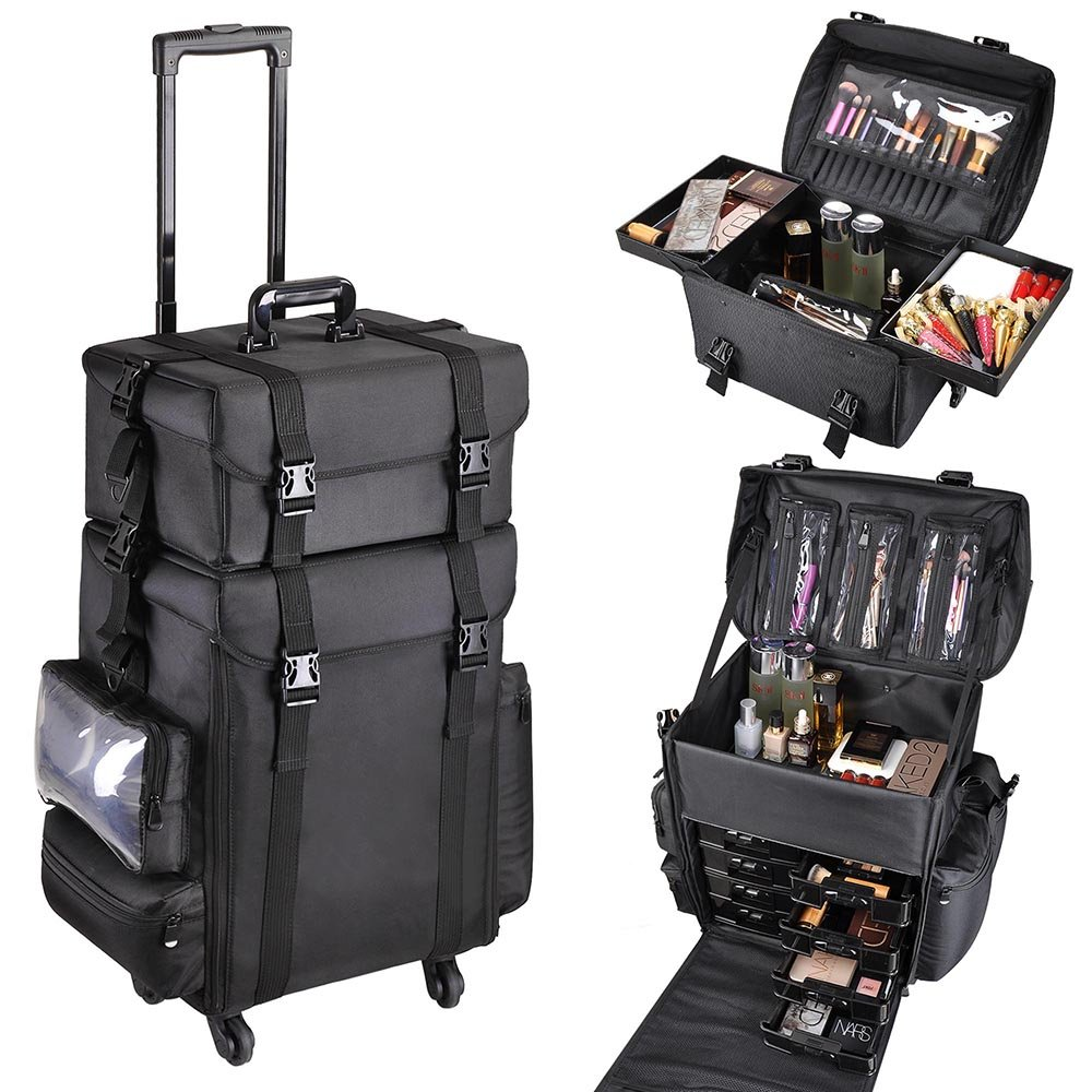 AW 2in1 Black Oxford Soft Sided Rolling Makeup Case Cosmetic Stroage Trolley 15x11x25'' Train Bag Makeup Luggage by AW