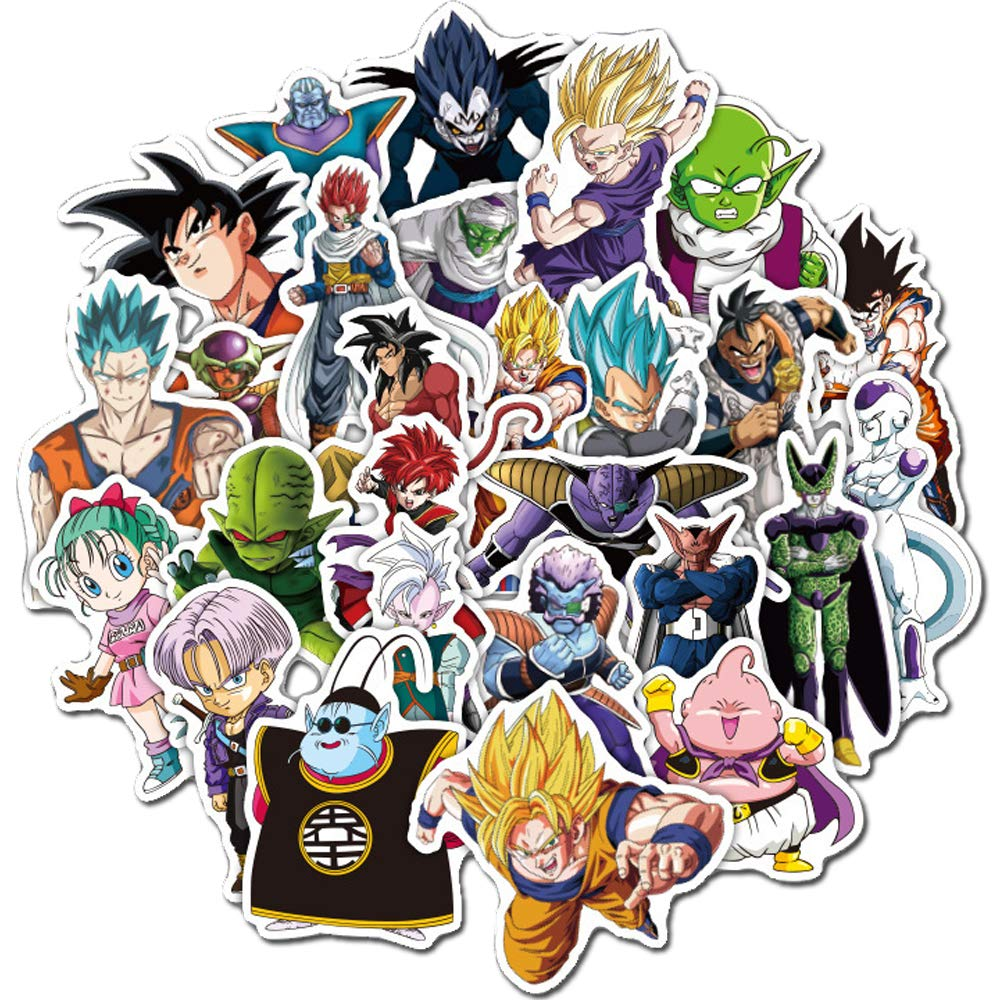 50pcs cool dragon ball z vinyl laptop decals custom dbz sticker sheet cute anime decals clear stickers for mobile phones laptops water resistant