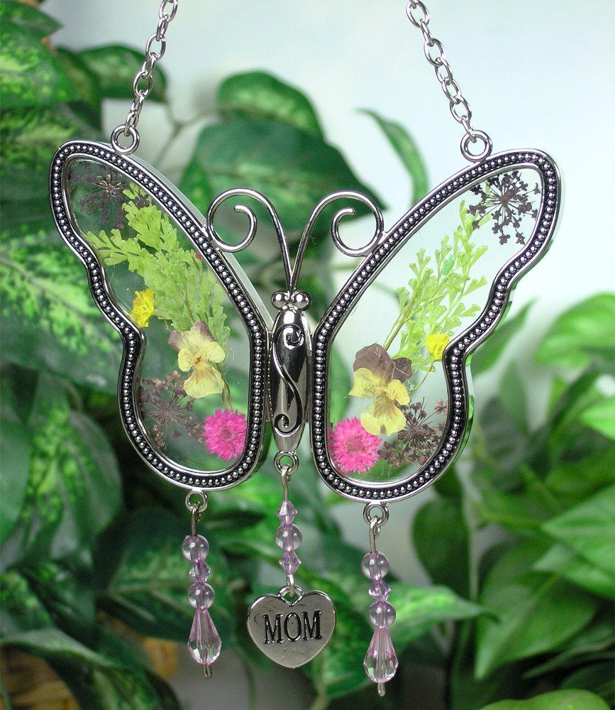 amazon com mom butterfly mother suncatcher with pressed flower