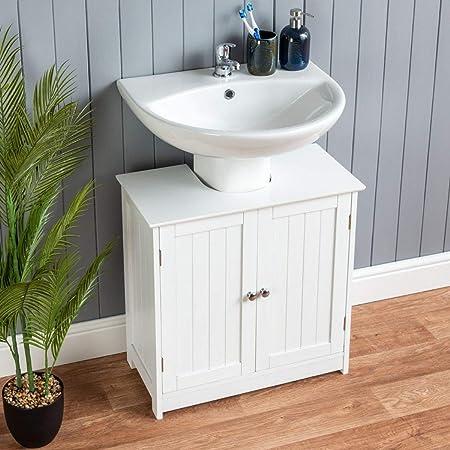 Christow White Under Sink Bathroom Cabinet Free Standing Wooden