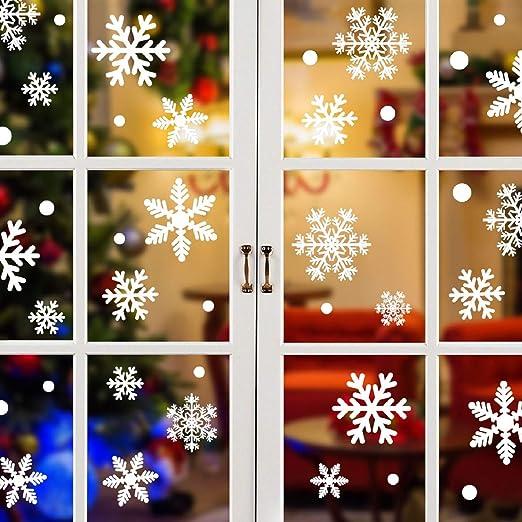 Schneeflocken Fensterbild Abnehmbare Fensterdeko Statisch Haftende PVC Aufkleber Winter Dekoration