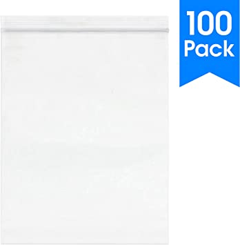 100 Pack 9 x 12 2 mil - Clear Plastic Reclosable Single Zipper Poly Bag | MagicWater Supply Brand