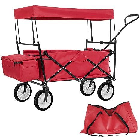 TecTake Carro de Mano Plegable con Techo carretillade Transporte para Utensilios Azul (Rojo | No