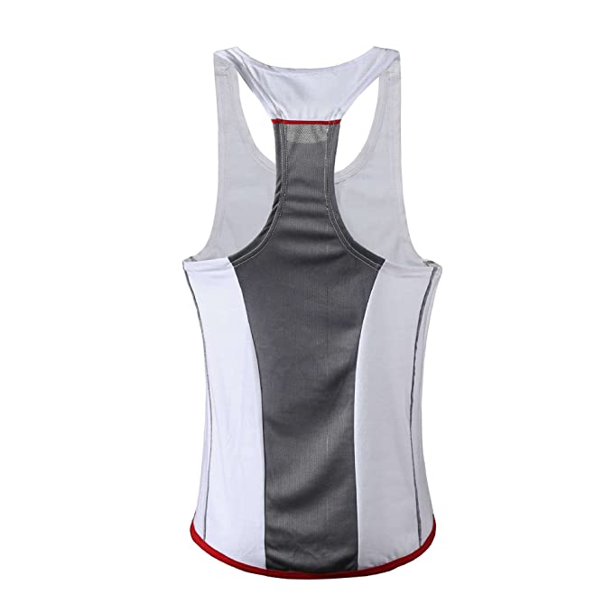 WEIMEITE Hombres Tank Top Gimnasios Fitness Culturismo Sin Mangas Camisa Casual Singlet Chaleco Undershirt Blanco+
